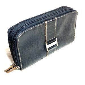 minicci black leather wallet